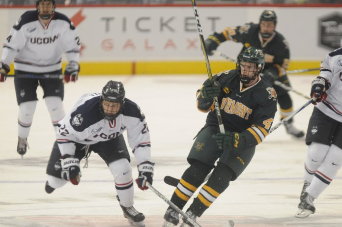 UConn hit the ice to face Vermont on Saturday Nov. 4, 2017 at the XL Center. Although starting with an early lead, the Huskies fell apart, ending up with a 2-4 loss. File Photo/The Daily Campus