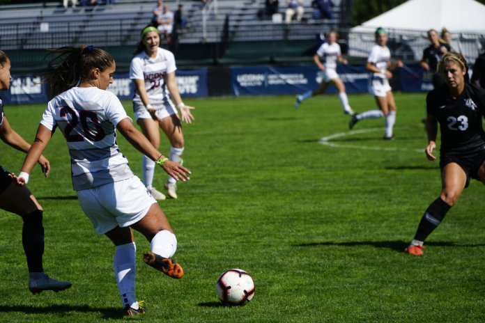 The Women's Soccer Team lost 3-5 to UCF on Friday, Sept. 30. Elena Santos (20) scored the first 2 goals and Sophia Danyko-Kulchycky (23) scored the third goal. Their next home game is on 10/18 against Memphis. Photo by Eric Wang, Staff Photographer/The Daily Campus
