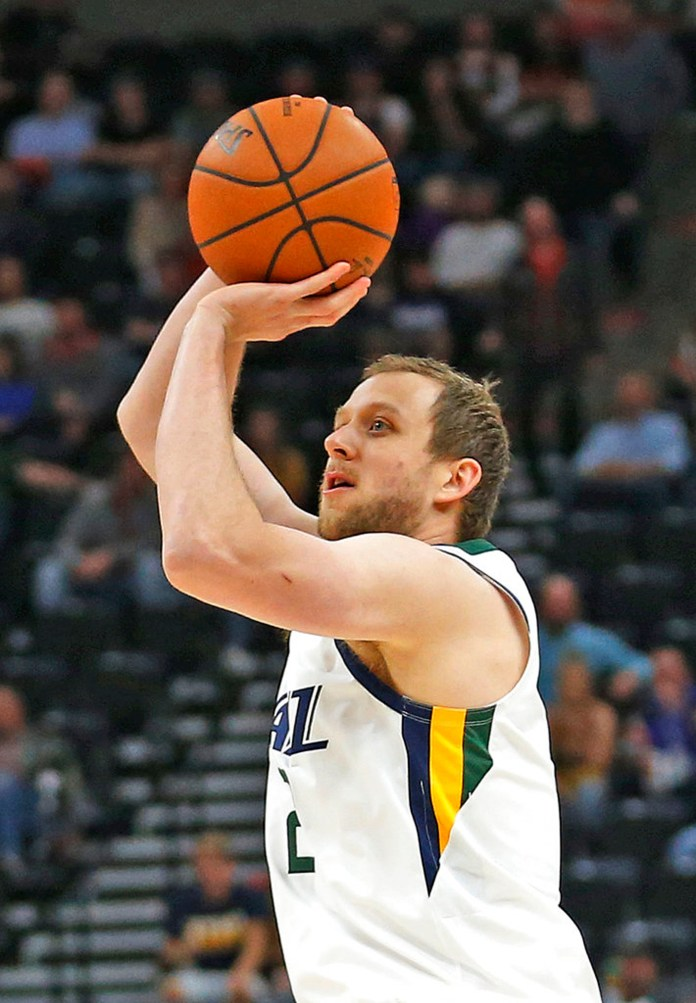 Utah Jazz forward Joe Ingles shoots against the Adelaide 36ers during the first half during an NBA exhibition basketball game Friday, Oct. 5, 2018, in Salt Lake City. (AP Photo/Rick Bowmer)
