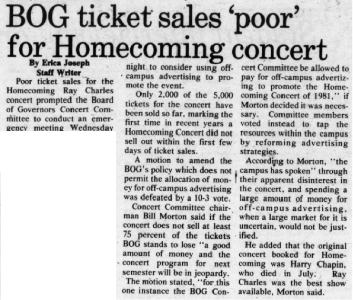 """The original concert booked by BOG was Harry Chapin, but after his death in July 1981, Ray Charles was the """"next best show available,"""" Morton said. (Photo provided by writer)"""