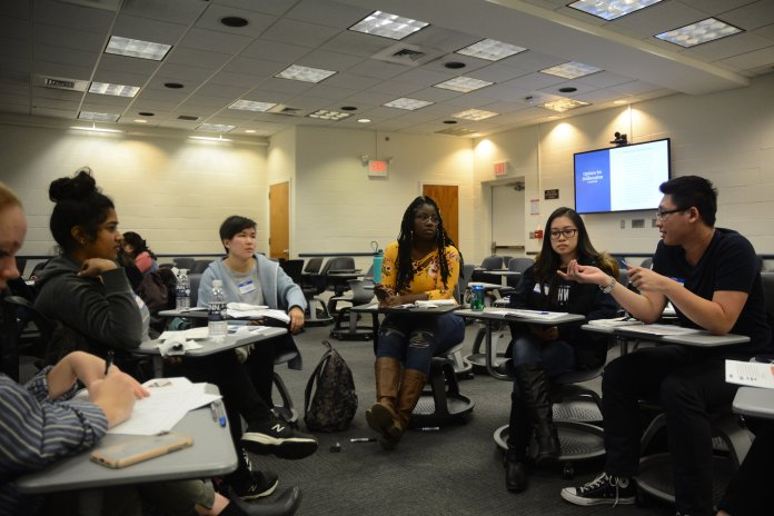 """A discussion session on the opioid epidemic present in the state of Connecticut and across the United States is held by UConn Community Outreach's Dialogue Initiative in Rowe 122 on October 22, 2018. The event included presentations and breakout group conversations regarding three options for deliberation: """"Focus on Treatment for All, Focus on Enforcement, and Focus on Individual Choice,"""" according to Community Outreach. (Judah Shingleton/The Daily Campus)"""