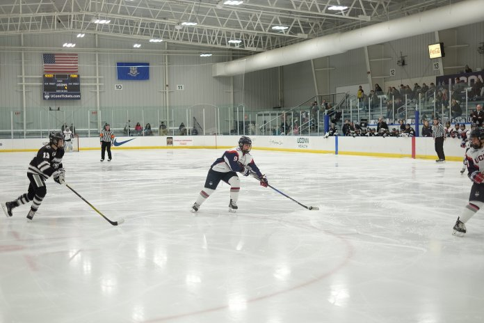 FILE- UConn entered Tuesday's game tied for second in Hockey East only to suffer a third period collapse against Brown.