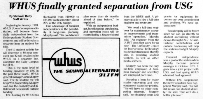 In late Oct. 1982, WHUS announced that beginning in Jan. 1983, the campus radio station would financially separate from the Undergraduate Student Government. (Photo provided by writer)