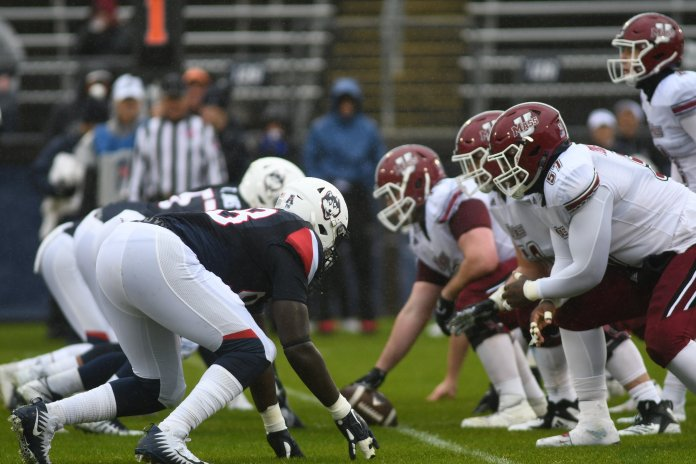 The Huskies dropped a sloppy homecoming matchup to UMass 22-17 Saturday. It was UConn's seventh loss of the season. Photo by Charlotte Lao, Photo Editor/The Daily Campus