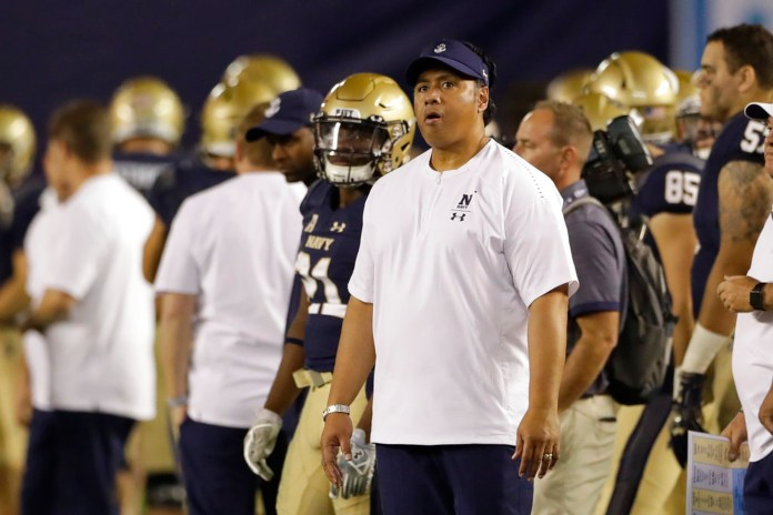 Navy head coach Ken Niumatalolo looks on during the second half of an NCAA college football game against Notre Dame, Saturday, Oct. 27, 2018, in San Diego. (AP Photo/Gregory Bull)