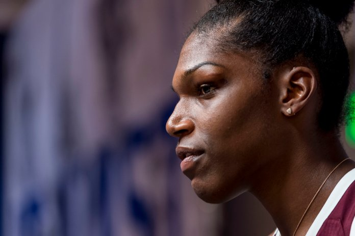 Mississippi State center Teaira McCowan talks with the media during the Southeastern Conference women's NCAA college basketball media day. (AP Photo/Vasha Hunt)