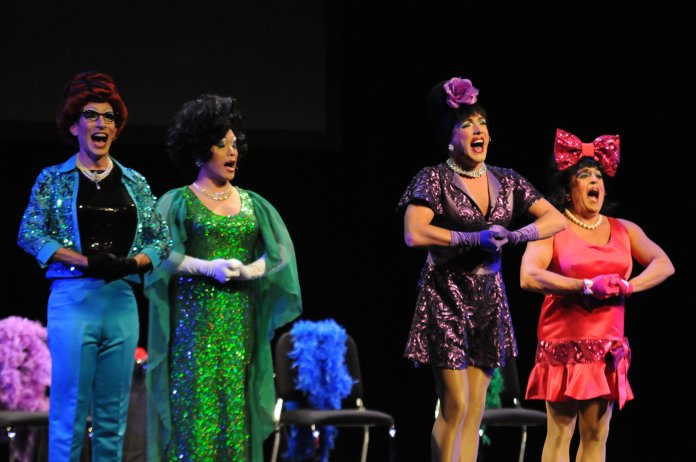The Kinsey Sicks performing drag queen acapella in Jorgensen Center for the Performing Arts. They expressed political values, personal stories, and got the audience involved in their acts. (Hanaisha Lewis/The Daily Campus)