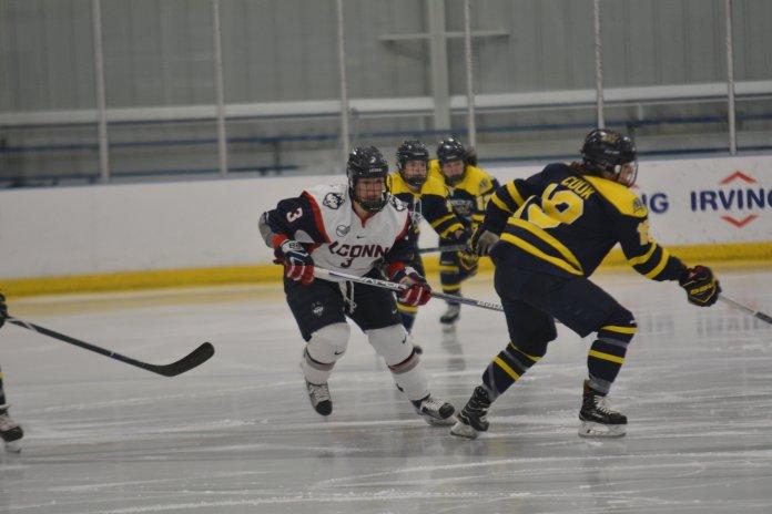 FILE- UConn Women's Hockey was held scorelles against No.5 ranked Boston College on Nov. 1, 2018.