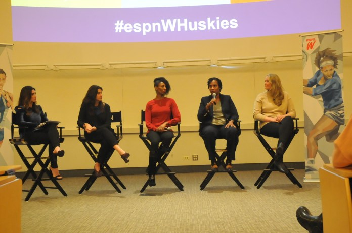 Female athletes at UConn gather in the McGugh Hall to welcome former university athletes back to campus and be given advice on their future endeavors, in terms of careers (Hanaisha Lewis/The Daily Campus).