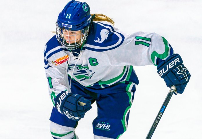 Emily Fluke has been one of the best players for the Whale while balancing a busy work schedule. Photo by Matthew Raney/NWHL