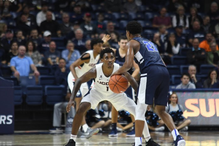 The Huskies opened up the season with their first exhibition game winning 96-64 against Southern Connecticut. They play their next home game at tonight against Morehead State University. Photo by Eric Wang, Staff Photographer/The Daily Campus