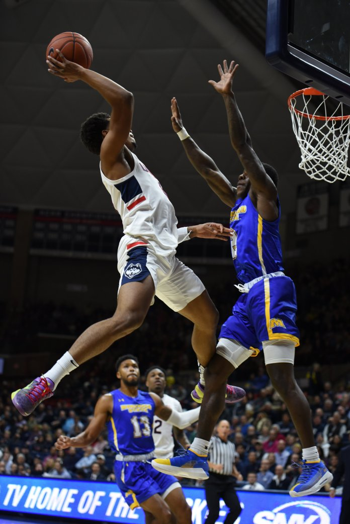 The Huskies defeat Morehead State University 80-70 for their home opener on Thursday, November 8. (Charlotte Lao/ The Daily Campus)