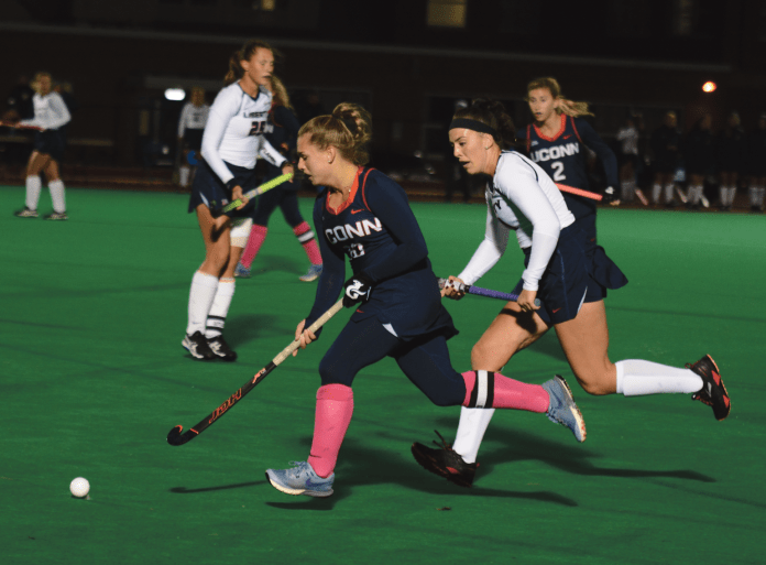 UConn Field Hockey, pictured here during their game against Liberty on Oct. 18, 2018, had their season come to an end against Maryland. (Eric Wang/ The Daily Campus)