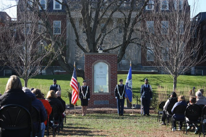 UConn's Office of Veterans Affairs and Military Programs holds its annual Veterans Day ceremony at The Ultimate Sacrifice Memorial outside of the Wilbur Cross building on Monday, Nov. 12, 2018. (Judah Shingleton, Staff Photographer/The Daily Campus)