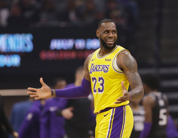 Los Angeles forward LeBron James gestures during a game against the Sacramento Kings on Saturday, Nov. 10 in Sacramento. (Rich Pedroncelli/AP)