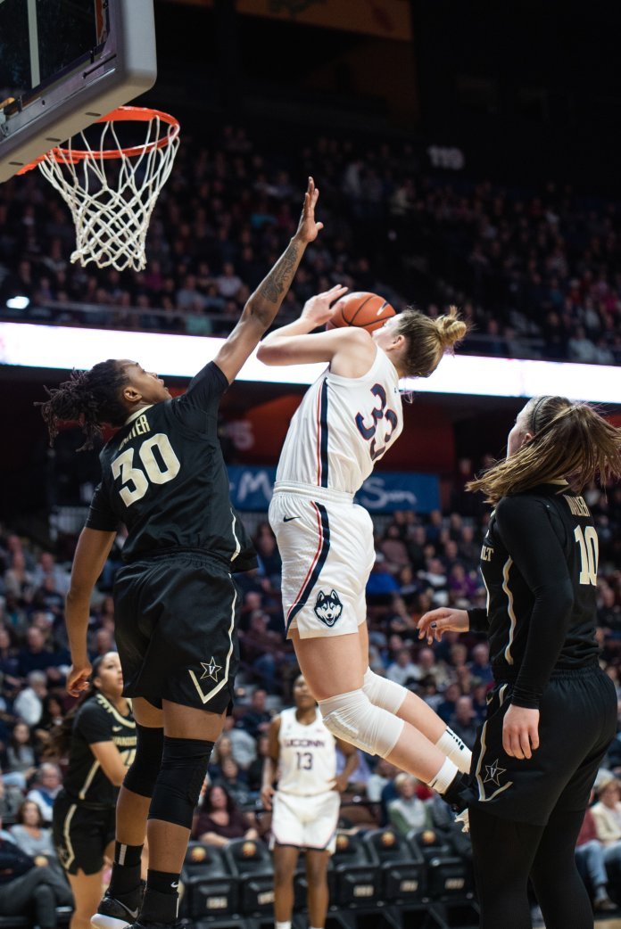 Katie Lou-Samuleson drives to the rim during UConn Women's Basketball game against Vanderbilt on Nov. 11, 2018.  (Charlotte Lao/ The Daily Campus)