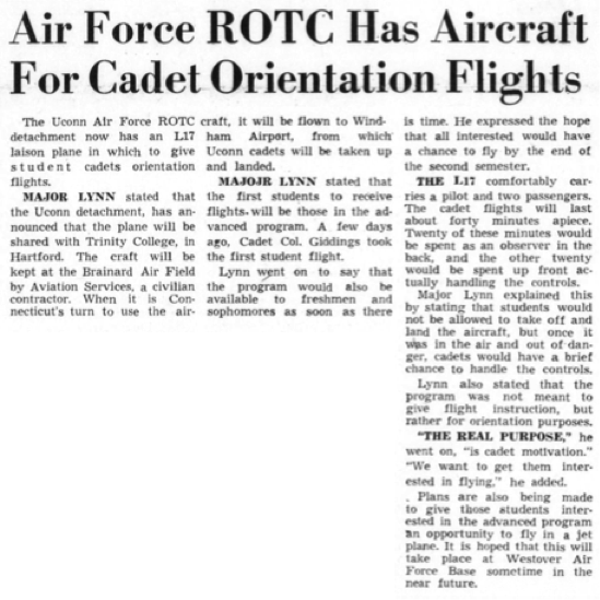In November 1956, the University of Connecticut Reserve Officer Training Corps (ROTC) acquired a L-17 plane, a single-engine four-seat aircraft, to give orientation flights to cadets. (Photo provided by writer)