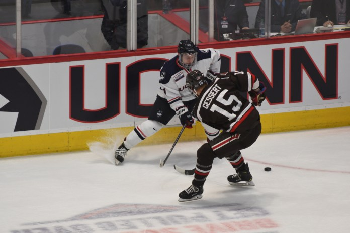 The Huskies won 3-1 against Brown, with 2 goals from freshmen Jonny Evans. Their next home game is this Friday 11/16 against UMass Lowell (Eric Wang/The Daily Campus)