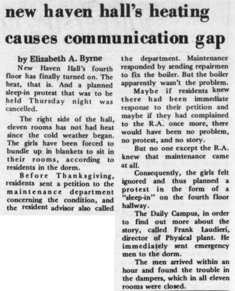 """In 1971, University of Connecticut students protested the lack of heat in a North Campus dorm by staging a """"sleep-in."""" (Photo supplied by writer)"""