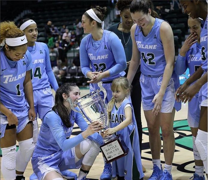 Members of the Tulane women's basketball team celebrate a win against Southern Miss on Saturday, Dec. 1 in New Orleans. (Photo courtesy of  Tulane Green Wave Instagram )
