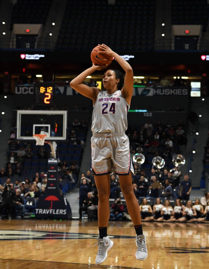 Napheesa Collier had her number retired at Incarnate Word Academy on Monday prior to UConn's 98-42. (Judah Shingleton/ The Daily Campus)