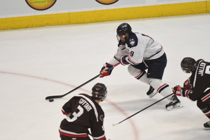Huskies kick off the Ice Vegas tournament tonight. Photo by Eric Wang/The Daily Campus