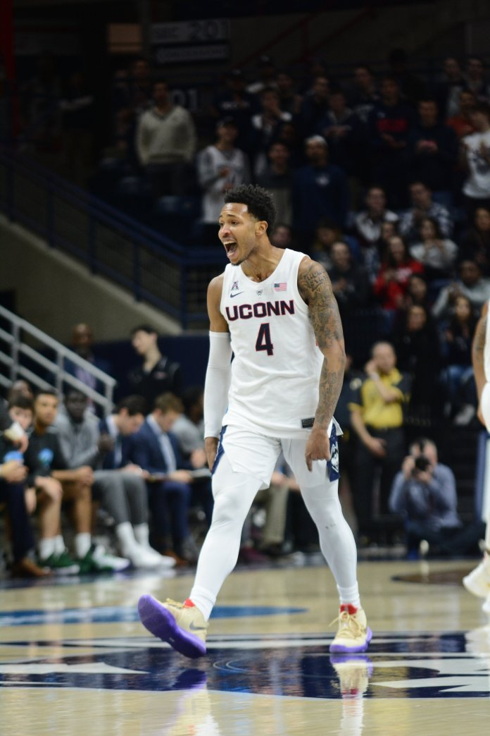 Jalen Adams celebrates during UConn's 87-71 victory over Tulane on Saturday, Jan. 19 at Gampel Pavilion. Adams scored 31 points, just three points shy of his career high. (Eric Wang/The Daily Campus)