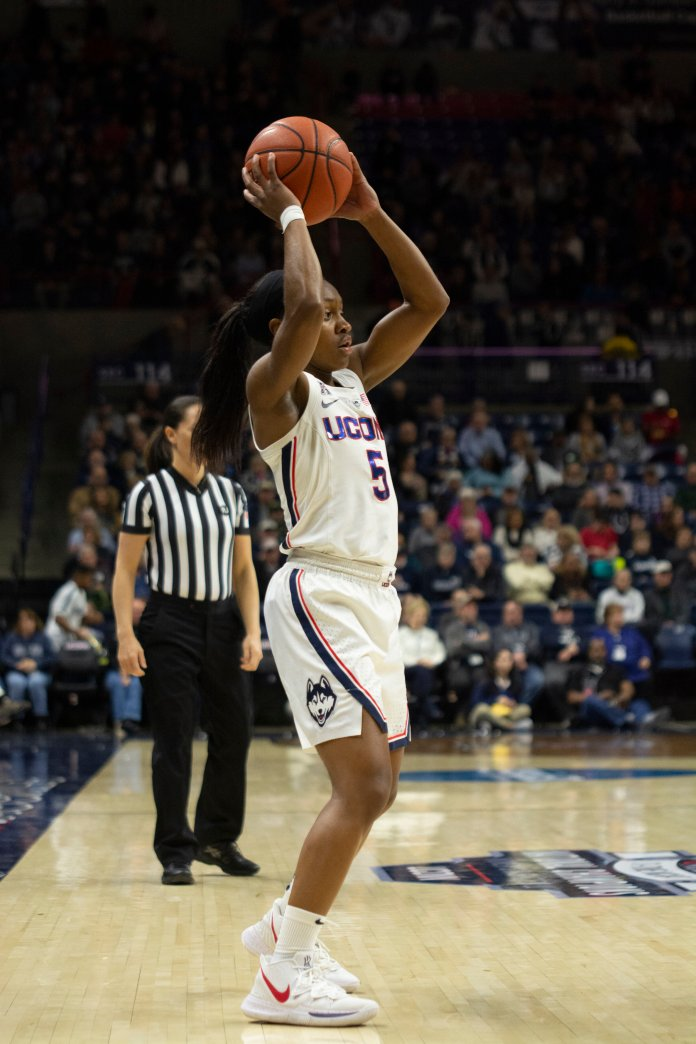 Crystal Dangerfield exploited the transition game, finished with eight assists. (Nicholas Hampton/The Daily Campus)