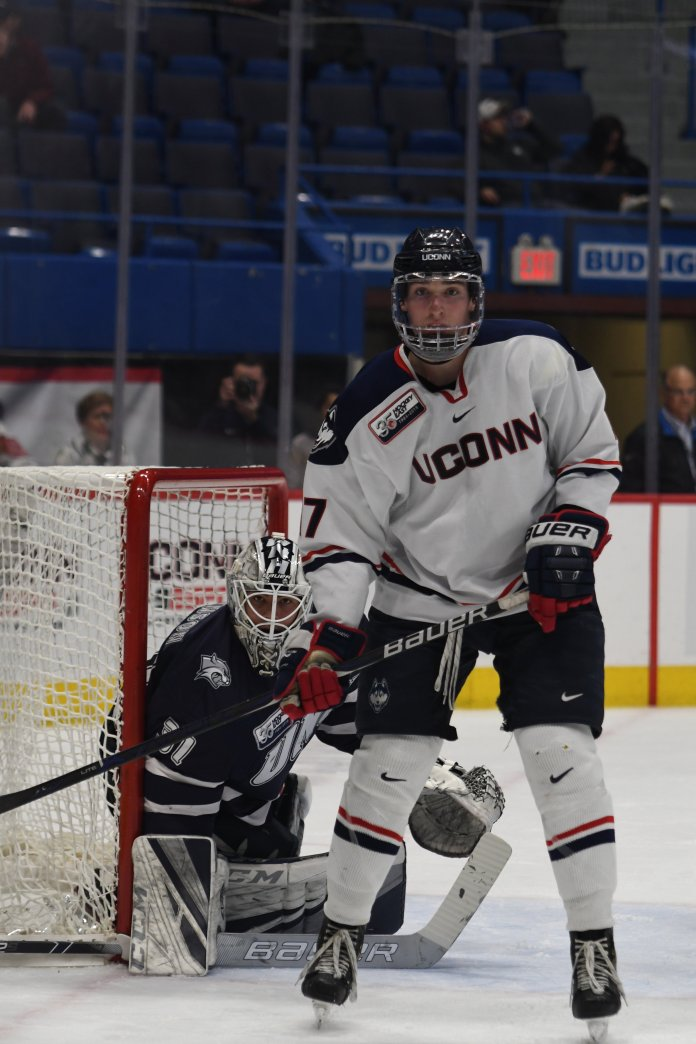 The UConn men's hockey team battled the University of New Hampshire at the XL Center in Hartford, Connecticut on January 25, 2019. The game resulted in a 2-2 tie after an overtime. (Judah Shingleton/The Daily Campus)