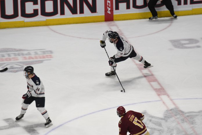 In what wound up a 5-3 final, the Huskies now drop to 7-17-2 overall and just 2-12-1 in the Hockey East.  (Eric Wang/The Daily Campus)