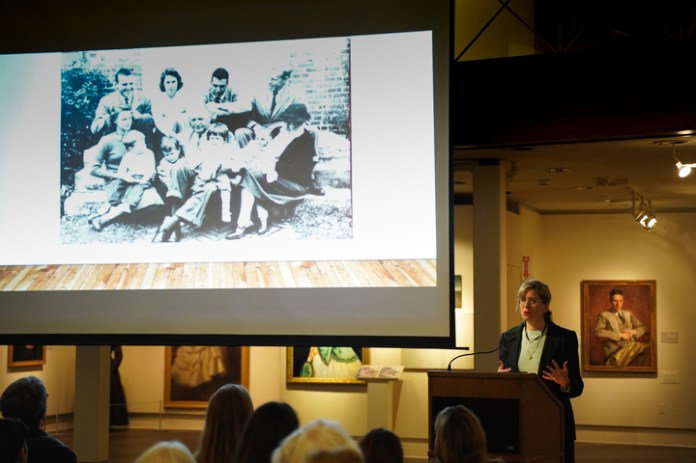 Alexis Boylan discusses the work of Emmet Rand(1875-1941) in relation to issues of race and gender at William Benton Museum of Art on Wednesday. Alexis L. Boylan is Associate Director of the Humanities Institute, and has a joint appointment with Art and Art History and the Africana Studies Institute at the University of Connecticut. (Congyang An/The Daily Campus)