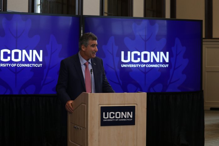 The UConn Board of Trustees meets in the Wilbur Cross Library to announce Thomas Katsouleas as the new President of UConn. Katsouleas, executive Vice President and provost at the University of Virginia, will replace current UConn President Susan Herbst. (Photo by Judah Shingleton/The Daily Campus)