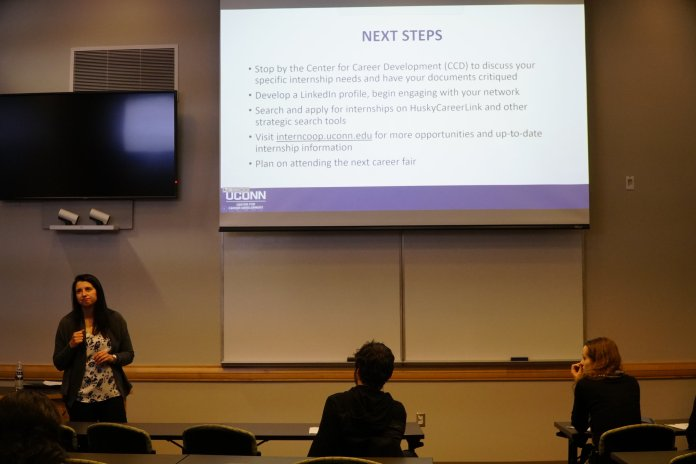 Ana Clara Bless, the Assistant Director of Experimental Learning at the Center for Career Development spoke on the ways for students to prepare and carry themselves to better find an internship, job, or co-op. (Photo by Eric Wang/The Daily Campus)