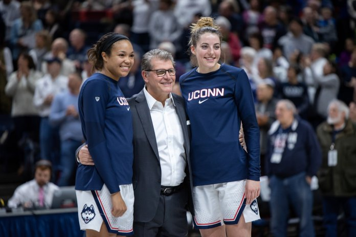 """Seniors Napheesa Collier and Katie Lou Samuelson had their names added to the """"Huskies of Honor."""" Photo by Charlotte Lao/The Daily Campus"""