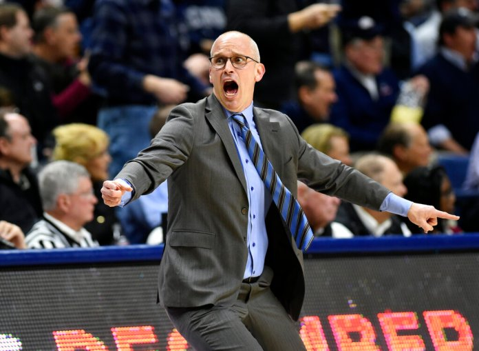 Connecticut head coach Dan Hurley reacts to a foul call in the first half of an NCAA college basketball game against Temple, Thursday, March 7, 2019, in Storrs, Conn. The Huskies bounced back Sunday afternoon in their final game of the regular season against East Carolina. (AP Photo/Stephen Dunn)