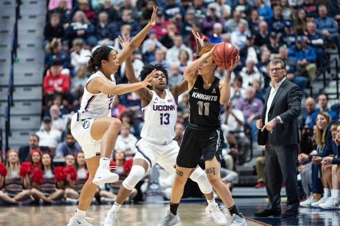Napheesa Collier will need help from the supporting cast in order for UConn to hoist its 12th National Championship. Photo by Charlotte Lao/The Daily Campus