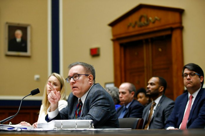 Environmental Protection Agency Administrator Andrew Wheeler testifies before the House Environment and Climate Change Subcommittee during a hearing on President Trump's budget request for Fiscal Year 2020, Tuesday, April 9, 2019, on Capitol Hill in Washington. (AP Photo/Patrick Semansky)