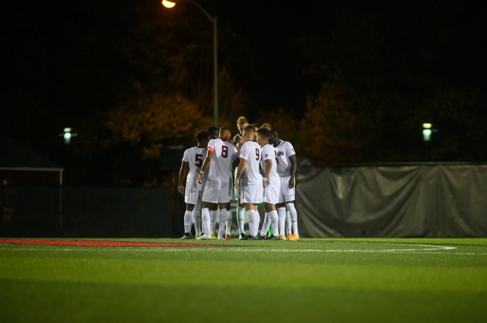 The Huskies walked away with a 2-0 victory led by Jordan Hall in their season-opener against Rider University.  Photo by Charlotte Lao / The Daily Campus