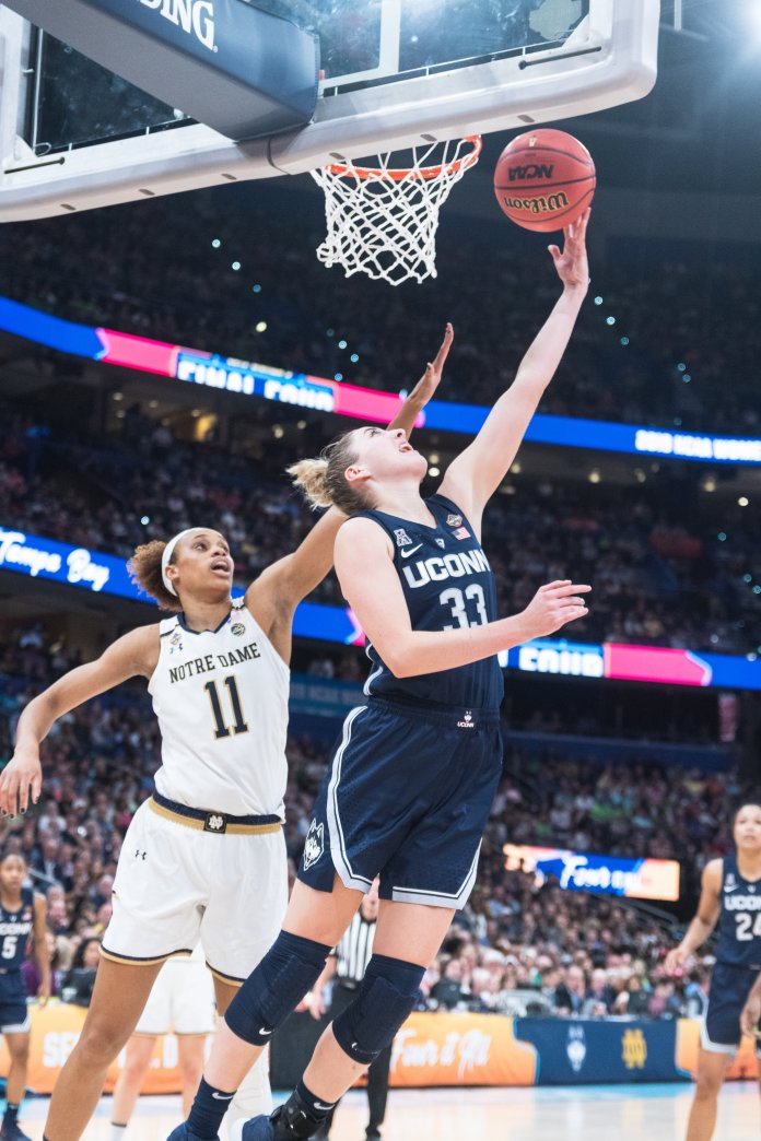 Katie Lou Samuelson is finishing her rookie season with the Chicago Sky; here she is playing for UConn during the Final Four in 2018.  Photos by Charlotte Lao / The Daily Campus