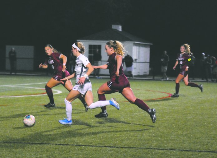 The women's soccer team fell to Brown 2-0 in last night's game, struggling all game to get shots on net.  Photo by Matthew Pickett /The Daily Campus
