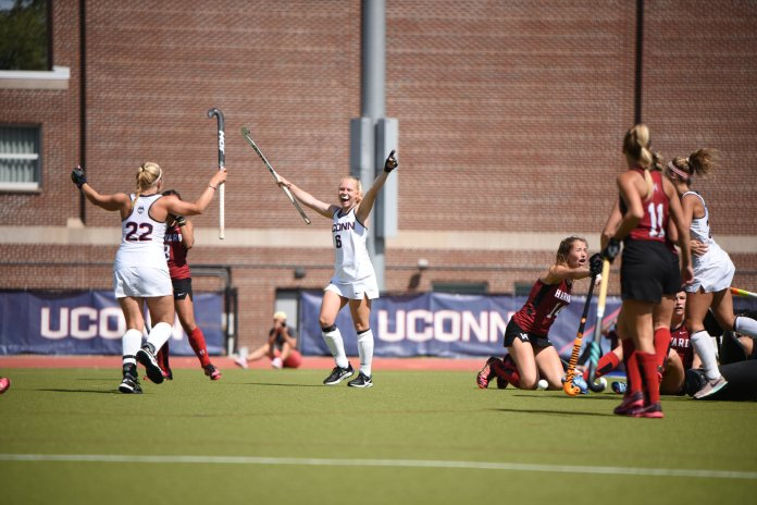 It's been a phenomenal start for the UConn field hockey team, following up last weekend's 2-0 performance in Stanford with two more ranked wins in Storrs this weekend against No. 19 Rutgers and No. 6 Harvard.  Photo by Charlotte Lao / The Daily Campus.