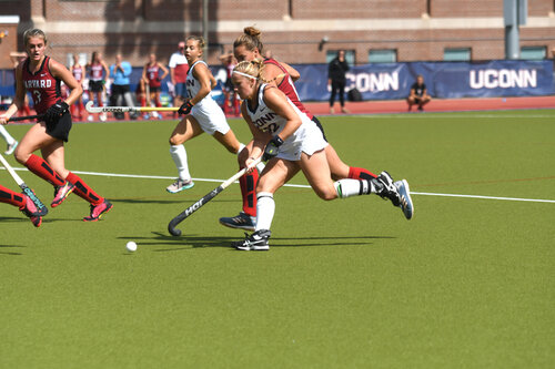 The field hockey team will travel this weekend to take on No. 11 Michigan and No. 25 Michigan State..  Photo by Maggie Chafouleas / The Daily Campus