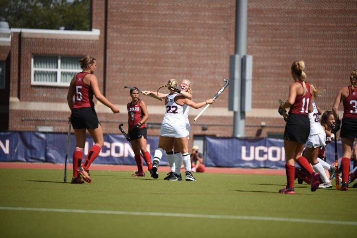 The field hockey team defeats Harvard 3-0 to improve their record to 4-0. Their next match is on Sept 13 against Michigan.  Photo by Charlotte Lao/The Daily Campus
