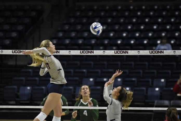 Coming off a strong weekend where they went 3-0 against USF, the UConn volleyball team is headed to Philadelphia to take on conference foe Temple Owls.  Photo by Brandon Barzola / The Daily Campus.