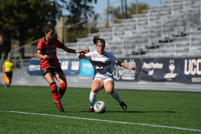 The Huskies lost to the Cincinnati Bearcats 0-1 on Sept. 29 in the first overtime after no goals were scored in the first two halves. This goal-less streak continued this week with their loss to Tulsa.  Photo by Eric Wang/The Daily Campus.