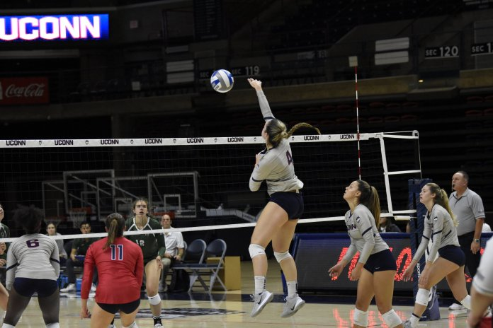 Sophomore outside hitter Cayler Parker has continued to lead the team with a record of 203 kills, 149 digs and 23 blocks.  Photo by Brandon Barzola / The Daily Campus.