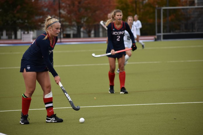 The UConn Field Hockey Team shutout Providence 3-0 Friday afternoon at the George J. Sherman Family Sports Complex. Freshman Erica Solomen scored the first goal of her collegiate career. They beat Delaware the following Sunday, 3-0.  Photo by Sofia Sawchuk / The Daily Campus