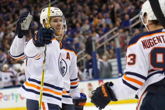 The Edmonton Oilers sit right behind the Sabres in the rankings at 5-0-0. They are led by first overall pick in the 2015 draft, Connor McDavid.  Photo from the Associated Press.