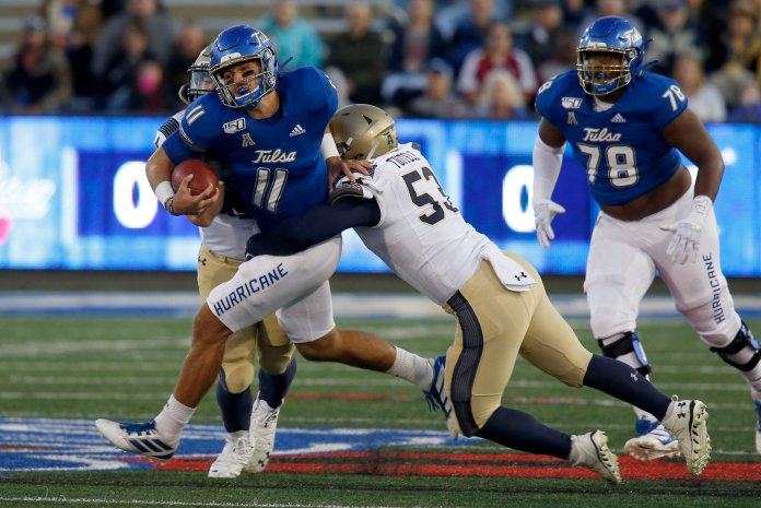 Tulsa was just one of a couple AAC teams to lose this weekend, as the Golden Hurricane got blown out by Navy 45-17. Tulsa dropped to 2-4 on the season.  Photo from the Associated Press.