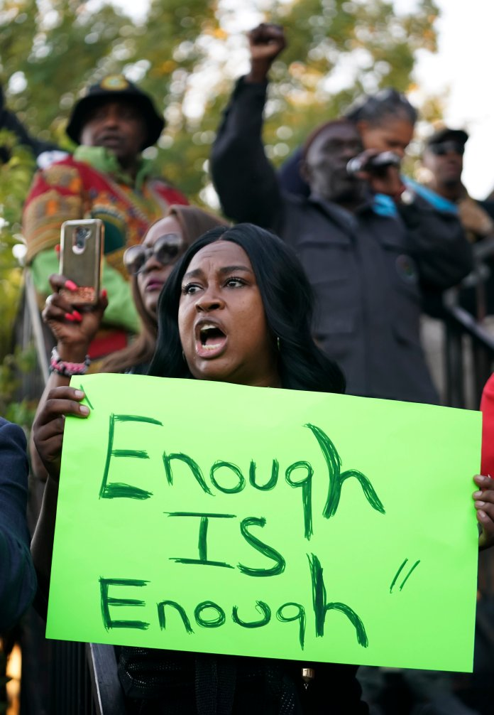 Jefferson and Jean are just two people out of many that have experienced racial violence at the hands of the police. As of August, statistics say that approximately 1 in 1,000 black men and boys can expect to die at the hands of police.  Photo from the Associated Press.
